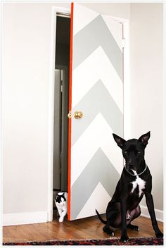 DIY Door Décor - love this idea, even stripes diagonal or pinstripes would look fabulous! And I love the pop of color trim along the edges. Wouldn't choose orange though.