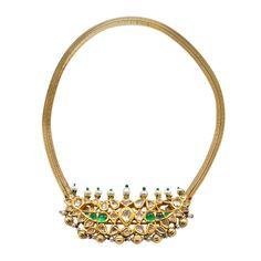 Cartier Mughal Mogul style 18K gold necklace centering a rose-cut diamond…