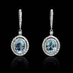 Diamond and Aquamarine 18k White Gold Dangle Earrings