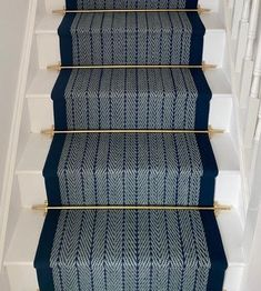 Herringbone Navy, Border Navy , Brass stair rods (2) Navy Stair Runner, Stair Runner Rods, Staircase Carpet Runner, Stair Runners, Stair Carpet Rods, Carpet Stairs, 1930s Semi Detached House, Cellar Conversion, Cottage Stairs