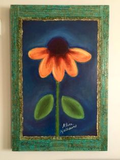 Blue Velvet Daisy Art on Deep Wood Panel 24x36