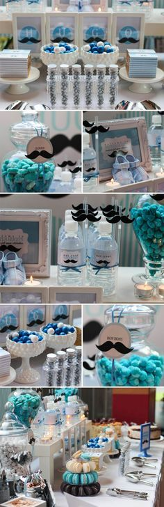 Full month mustache themed dessert table baby shower -for boy in 2018 pinte Baby Shower Desserts, Boy Baby Shower Themes, Baby Shower Favors, Baby Shower Games, Baby Showers, Baby Shower Parties, Baby Boy Shower, Baby Shower Decorations, Man Shower