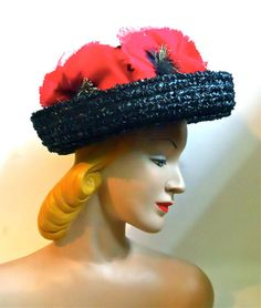 Black and White Sisal Hat with Big Red Poppies circa 1960s - Dorothea's Closet Vintage