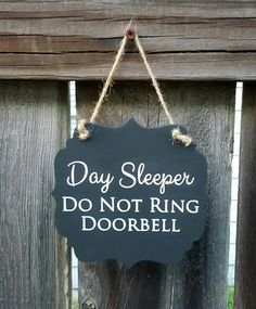 Day Sleeper Do Not Ring Doorbell hanging wood sign by HouseOfShep . Cop Wife, Police Officer Wife, Police Wife Life, Police Family, Nurse Life, Leo Love, Ring Doorbell, Night Shift, Thin Blue Lines