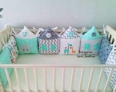 Crib bumper (baby bedding, cot bumper, baby bumper, crib bedding, nursery bedding, baby cot bumper, cot bumpers, organic bumper, chevron)