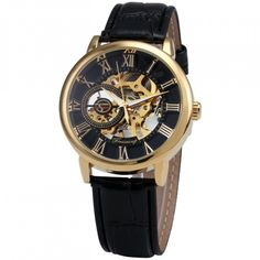 Royal Classic Golden Roman Index Skeleton Design with Luminous Hand in black and gold luxury mechanical men wrist watch. Golden men luxury case design, is suita Skeleton Mechanical Watch, Skeleton Watches, Mechanical Hand, Steampunk Watch, Royal Design, Luxury Watches For Men, Man Watches, Mens Fashion, Style Fashion