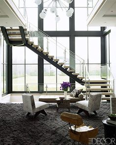 A Steel, Oak and Glass Staircase