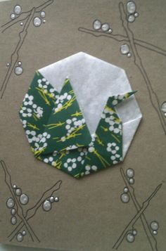 Bird in moonlight origami card. Could this work in fabric??