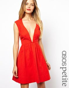 Asos PETITE Deep Plunge Skater In Jacquard on shopstyle.com  Your one stop shopping mall for gifts and health products, jewelry, blanket, fashion jewelry, engagement ring, wedding ring etc from http://www.giftsqueen.com.