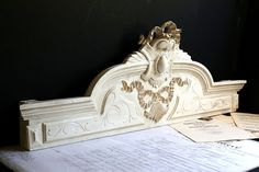 Large Antique French Wooden Pediment Fronton Wall Decoration Old White Baroque Ribbon Detail Architectural Salvage Napoleon III