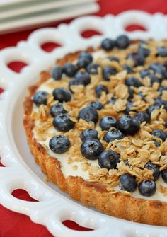 Yogurt Tart with Oat Crust and Crunchy Oat Topping - Easily made GF.