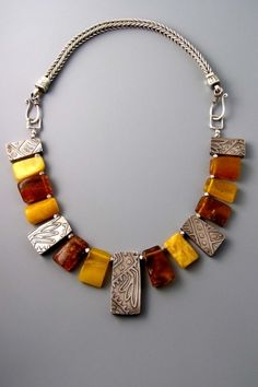 Patricia Reinking: Sterling silver and amber necklace. Amber Jewelry, Tribal Jewelry, Metal Jewelry, Beaded Jewelry, Silver Jewelry, Jewelry Necklaces, Handmade Jewelry, Beaded Necklace, Amber Necklace