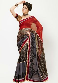 Embellished Red Saree | Indian Clothing