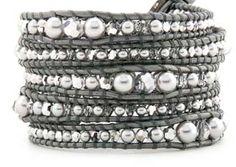 Glass Pearl & Calcite Crystals Leather Wrap Bracelet www.amazon.com/shops/bluenightgems