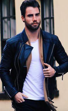 street fashion camel scarf leather