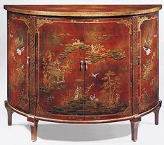 A George III Chinoiserie chest of drawers the rectangular top