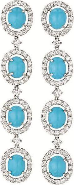 Turquoise and Diamond Ear Pendants
