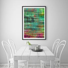 Abstract 17 Art Print Get lost in this colorful blend or vertical and horizontal lines with a focus on green colorways. Please note our framed prints DO NOT Include a white border / mount / mat around the image.  We use Premium Quality Inkjet Heavyweight Satin Paper which gives a sharp, crisp, clear look to all of our artworks. Its heavier weight gives it that 'professional' feel. Please remember that computer monitors vary. Colors and contrast may slightly differ.There also might be a…