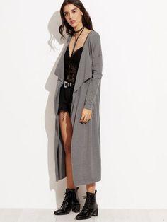 Grey Draped Collar Pockets Long Sweater Cardigan