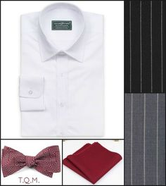 SHIRT/TIE COMBO: Proper Cloth(Shirt)-The Tie Bar(Bowtie)-Gentlemen's Crate(Pocket Square)-Suggested Suit Colors(Black Pinstripe & Light Gray Pinstripe)-Suit Colors on Right Side.