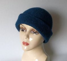 Woman's Winter Cloche Hat, Knit Felted Sapphire Blue Retro Bucket Hat,Boiled Wool Downton Abbey Flapper Hat with or without PIN by FarmFreshKnits on Etsy