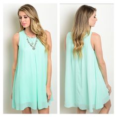 This weekend only! Price firm ✨Mint dress Retail. Perfect dress for spring and summer. Imported. 100% polyester. (B) Dresses