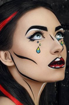 Halloween make up ideas? You came to the right place. If you're thinking about upgrading your make up game for the fright night, there is plenty of inspiration for pretty Halloween make up… Pop Art Makeup, Crazy Makeup, Eye Makeup, Face Makeup Art, Face Art, Makeup Brushes, Makeup Tools, Doll Makeup, Prom Makeup