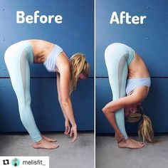 Excellent post from @melisfit_: TUESDAY TIP!  Every Tuesday I'm going to be showing you my biggest tips to get the most out of your yoga practice!! Today I want to show you some of the biggest form mistakes and problems I see when people practice Standing Forward Fold (Uttanasana)  In the before photo there are a few big issues here that could cause injury and hurt your practice: 1 My back is completely rounded! () This is one of the biggest problems I see in this pose (and can cause so…
