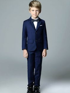 Ruched Solid Color Turn-down Collar Long Sleeves Boy's Coat+Vest+Shirt+Pant+Bowknot Tie Sets