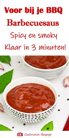 3 minute BBQ sauce: spicy and smoky! My Favorite Food, Favorite Recipes, Flavored Butter, Tapenade, Food Inspiration, Barbecue, Slow Cooker, Spicy, Vegan Recipes