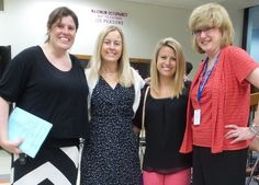 Scotchtown Avenue Principal Amy Prasky and Director of Pupil Personnel Services Deirdre Hallinan welcome new teachers Cheryl Fitzpatrick and Alexa Saraglio at the July 8 Board of Education meeting.