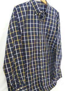 Jos. A. Bank Shirt Extra Large Travelers Plaid Navy Blue Cotton Long Sleeves #JosABank #Blue Shirt #Plaid Shirt