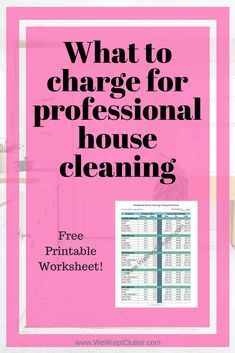 What You Should Charge for House Cleaning Services. - Well Kept ClutterStep by step guide on what to charge for house cleaning services.How to Build A U-Shaped Raised Garden Bed House Cleaning Jobs, House Cleaning Prices, Cleaning Services Prices, Cleaning Service Logo, House Cleaning Company, Commercial Cleaning Company, House Cleaning Checklist, Professional Cleaning Services, Cleaning Business Cards