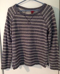 Ladies Med Long Sleeve Blue & Gray Striped Comfy Top #Merona #KnitTop #Casual $2 @Ebay