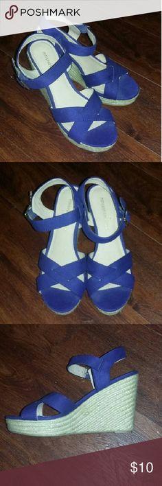 Wedges Dark blue Wedges never worn!! Shoes Wedges