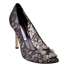 Manolo Blahnik lace pumps with jewel embellishment, $1,025, Saks Fifth Avenue.