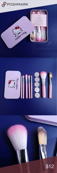 Hello Kitty mini brush kit Features Professional high quality makeup brushes set includes all the basics for daily applications Compact Box size: 13.5cm*7cm Cute, Unique and Lovely!Easy to stick powder, natural color, rendering uniform Material: High Quality Goat Hair, Nylon Material, Soft Synthetic. Wooden handle   Brush: lip, face, shader, eyeshadow, foundation, angled eyeliner, eye shades stick Hello Kitty Makeup Brushes & Tools