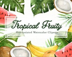 Tropical Fruity Watercolor Clipart Graphics The set of high quality hand painted watercolor tropical fruits and leaves images in bright and fres by everysunsun Watercolor Leaf, Animals Watercolor, Cherry Blossom Watercolor, Watercolor Plants, Wreath Watercolor, Watercolour Art, Watercolor Design, Tropical Fruits, Tropical Leaves