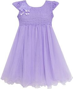 Girls Dress Bridesmaid Wedding Lace with Beading Purple 4-10 New #SunnyFashion #Party