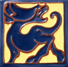 Tile of the week: Check out this California Faience Co. tile, in celebration of roaring our way cross the winter solstice a few days ago.