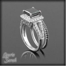Black Diamond Engagement Ring Wedding Set with Black Diamond Band
