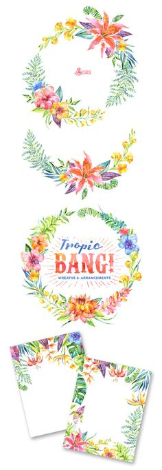 Tropic Bang Wreaths & Frames. Watercolor clipart by OctopusArtis