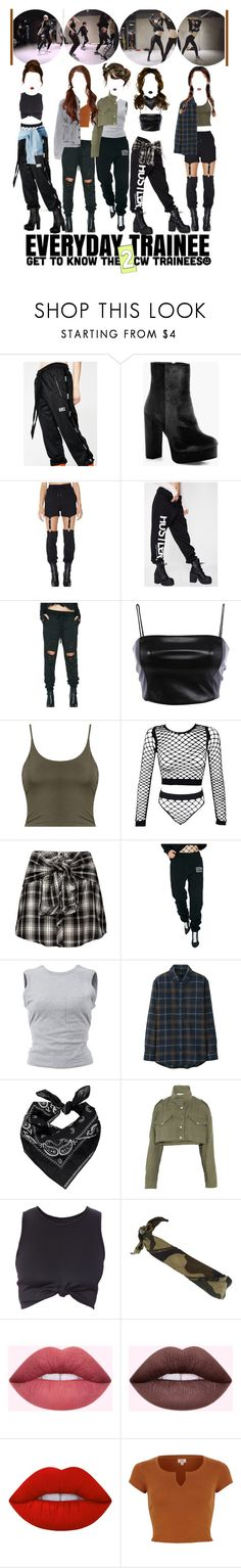 """«EVERYDAY TRAINEE 2 - GIRLS DANCE PRACTICE»"" by cw-entertainment ❤ liked on Polyvore featuring Demian Renucci, Boohoo, Poster Grl, 40s & Shorties, Emory Park, HUF, T By Alexander Wang, Uniqlo, Forever 21 and Off-White"