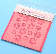 Use the hibiscus flowers cookie stencil to decorate cookies, chocolate covered Oreos, fondant cupcake toppers and more! Stencil on the designs with royal icing, airbrushing or even our edible food pai