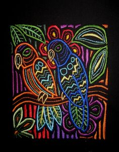 Large Mola Parrots Embroidered Quilt Fabric Block от tuesdayrose, $15.00