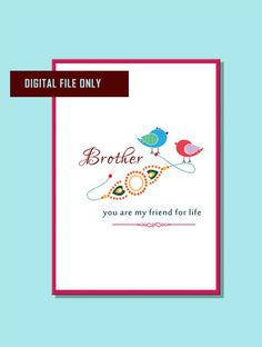 Rakhi digital instant download card 5x7 fold by shopgiftsonline Rakhi Greetings, Diwali Greetings, Rakhsha Bandhan Quotes, Rakhi Quotes, Rakhi Cards, Happy Rakhi, Rakhi Making, You Are My Friend, Quote Prints