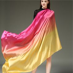 2017 Long Luxury Brand Fashion Bandana Scarve Woman Brand Silk Scarf Women Shawl High Quality Gradient Color Sunscreen 110*190CM