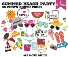 Summer beach party Photo booth props set - 55 piece printable, photobooth, pool party, summer holidays party props set, summer decorations - PDF INSTANT DOWNLOAD