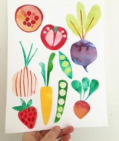 A page of collage fruit and veg by sallypayne_design Vegetable Crafts, Vegetable Design, Food Collage, Collage Art, Collage Ideas, Diy With Kids, Art For Kids, Vegetable Painting, Cut Paper Illustration