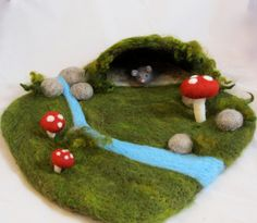 Needle Felted Play Mat Mouse's Cave by chimera on Etsy